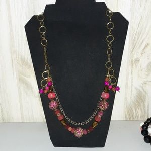 Hand crafted pink and gold multi strand necklace